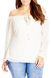 Plus Size Women's City Chic Lace Inset Off The Shoulder Ruffle Top