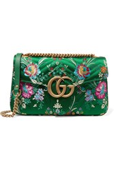 Gucci Gg Marmont Medium Quilted Floral Jacquard Shoulder Bag Green