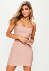 Missguided Petite Exclusive Pink Bandage Ribbed Bralet Peach