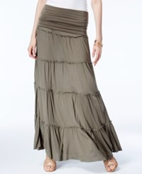 Inc International Concepts Tiered Convertible Maxi Skirt Only At Macy's Olive