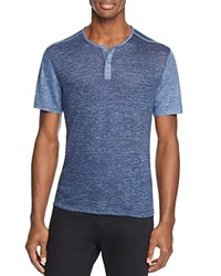John Varvatos Collection Linen Melange Color Block Henley Tee Cornflower Blue