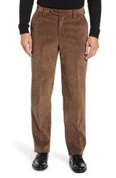 Berle Classic Fit Flat Front Corduroy Trousers Brown