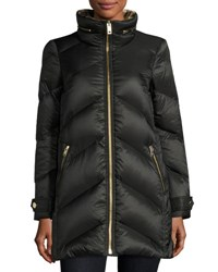 Burberry Chevron Quilted Down Puffer Coat Black