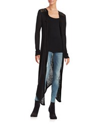 California Moonrise Mesh And Beaded Duster Cardigan Black