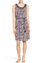 Lucky Brand Women's Belted Lace Inset Dress