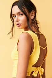 Silence And Noise Tie Back Apron Top Yellow