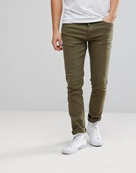 Black Kaviar Skinny Jeans In Khaki With Distressing Khaki Green