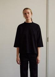 Blue Blue Japan Cotton Cashmere Piped Oversized Half Sleeve Tee Black