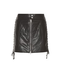Mcq By Alexander Mcqueen Embellished Leather Skirt Black