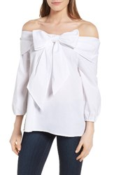 Pleione Women's Wallis Bow Front Off The Shoulder Top White