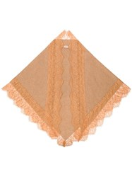 Twin Set Lace Trim Scarf Nude And Neutrals