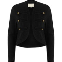 River Island Black Gold Tone Button Military Jacket