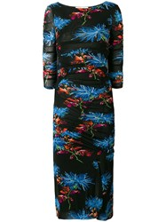 Diane Von Furstenberg Dvf Floral Printed Dress Black