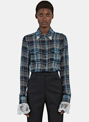 Preen Heidi Checked Silk Georgette Shirt Blue