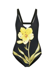 Chictopia Lily Floral Print One Piece Swimsuit Black Multi Colour