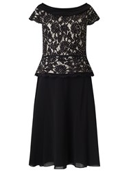 Jacques Vert Lace Chiffon Cowl Neck Flare Dress Black Nude