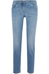 Brunello Cucinelli Distressed Low Rise Straight Leg Jeans Light Denim
