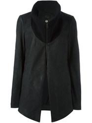 Lost And Found Ria Dunn Wool Collar Leather Jacket Black