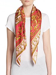 Saks Fifth Avenue Printed Silk Scarf Pink