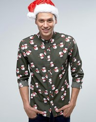 Asos Christmas Snowman Print Shirt In Green Green