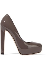 Brian Atwood New Maniac Patent Leather Platform Pumps Nude