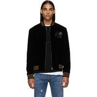 Saint Laurent Black Velvet Teddy Radio Bomber Jacket