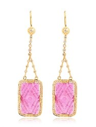 Jade Jagger Ruby And Diamonds Drop Earrings