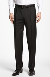 Men's Big And Tall Canali Pleated Trousers Black