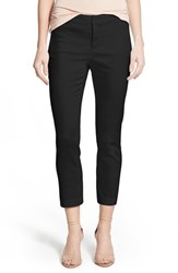 Petite Women's Nydj 'Corynna' Cotton Sateen Slim Ankle Pants Black