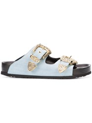 Fausto Puglisi Buckle Slider Sandals Women Calf Leather Rubber 38 Blue