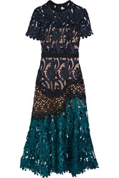 Self Portrait Prairie Guipure Lace Midi Dress Midnight Blue