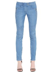 Balmain Quilted Stretch Cotton Denim Jeans