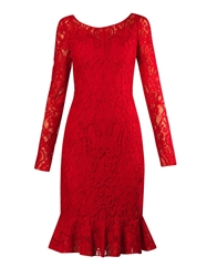 Dolce And Gabbana Fluted Hem Lace Dress