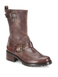 Cole Haan Hemlock Leather Moto Boots Black Leather Chestnut Leather