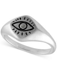 Rachel Roy Silver Tone Etched Eye Ring