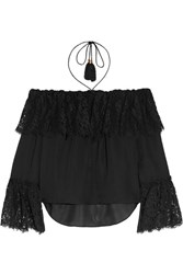 Rachel Zoe Cali Off The Shoulder Lace And Silk Chiffon Top Black