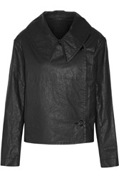Double Breasted Coated Cotton Blend Twill Jacket Lemaire