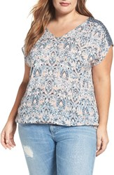 Lucky Brand Plus Size Women's Mixed Print V Neck Top