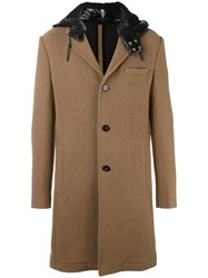 Carven Contrast Hood Classic Buttoned Coat Nude Neutrals