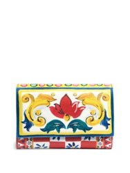 Dolce And Gabbana Printed Leather French Flap Wallet Yellow Multi