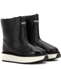 Kenzo Fur Lined Patent Leather Platform Boots Black