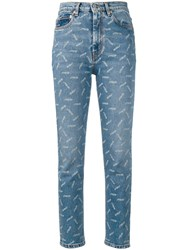 Heron Preston All Over Print Cropped Jeans Blue
