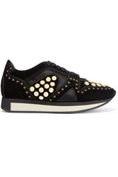 Burberry Prorsum Satin Trimmed Studded Suede Sneakers Black