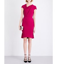 Roland Mouret Pleated Knee Length Wool Dress Orchid