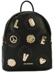 Love Moschino Golden Patch Backpack Women Polyurethane One Size Black
