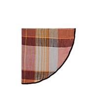 Alexander Olch Plaid Linen Pocket Round Orange