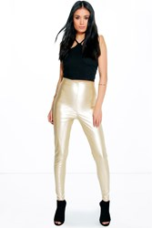 Boohoo Skinny Side Zip Leather Look Trousers Gold