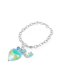 House Of Murano Mare Turquoise Glass Heart Charm Sterling Silver Bracelet