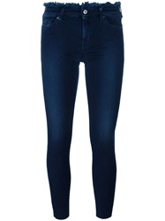 7 For All Mankind Frayed Trim Skinny Jeans Blue