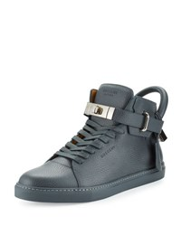 Buscemi 100Mm Men's Leather High Top Sneaker Dark Gray